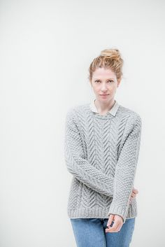 Aran fisherman's sweater // would look good in a bright color // women's knit sweater pattern