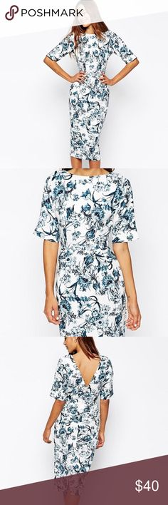 Petite Midi Dress Only worn once! Does have a small makeup transfer inside but can easily be washed out. Has pockets on the sides. Great for any occasion. ASOS Dresses Midi