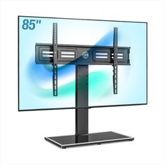 """Put directly on your table - no drilling at all. Tiny-but-mighty screws work as a team to hold up to 143 pounds safely for TVs up to 85"""". Latest explosion-proof tempered glass technology and sturdy safety tv lock design can protect your tv from damage 60 Inch Tv Stand, Printer Desk, Dual Monitor Stand, Tabletop Tv Stand, Adjustable Standing Desk Converter, Xbox One Black, Flat Screen Tv Stand, Universal Tv Stand, Swivel Tv Stand"""