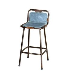 Factory Bar Stool With Denim Seat Vintage Bar Stools From Andy Thornton