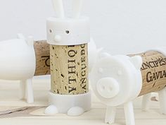Cork Pals are toys made from a 2 piece 3Dprinted set and a used wine cork. They are designed to be printed from PLA - 100% biodegradable bioplastic. Download three for free and print them yourself.
