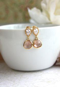 Champagne peach gold earrings #jewellery