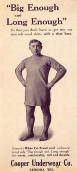 Men's underwear ad, 1900s. Is it big enough AND long enough? I hope so.