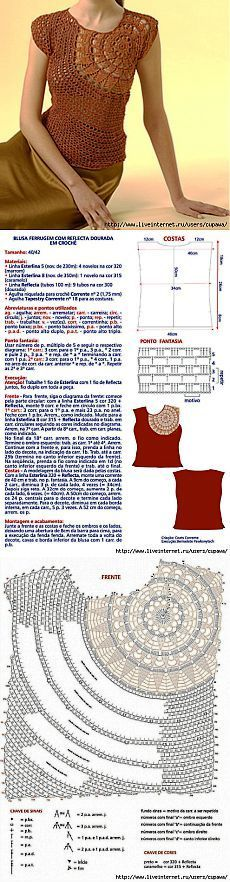 Flower Shoulder Top free crochet graph pattern ♪ ♪ ... #inspiration #diy GB http://www.pinterest.com/gigibrazil/boards/
