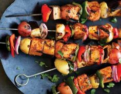 Meatless Monday: Veggie Kebabs with Pomegranate-Peach Sauce. Sign-up for more #meatlessmonday recipes: https://secure.humanesociety.org/site/SPageServer?pagename=meatlessmondaysignup&s_src=pn_post080814