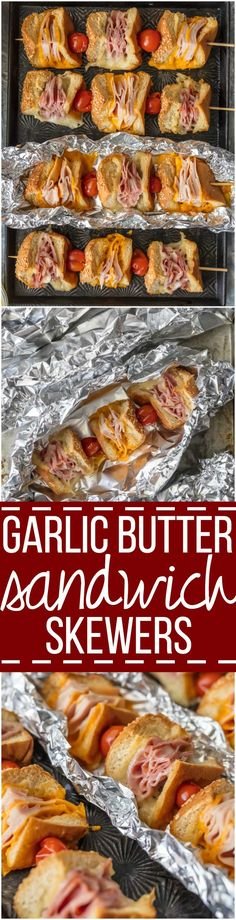 These Cheesy Garlic Butter Sandwich Skewers are a twist on an old classic. Cheesy Ham, Turkey, and cheese sandwiches drizzled with garlic butter and cooked to perfection in foil packets; such a fun and delicious lunch or dinner! via @beckygallhardin