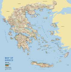 Map of Greece detailed Greece road map. Very detailed map of Greece with road network map shows the motorways, major roads of Greece. Planning Maps, Greece Map, Country Maps, Wall Maps, Wall Spaces, Adhesive Vinyl, Wallpaper, Detail, World