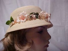 Beige cloche hat with turned down brim and row of by designer2, $28.00