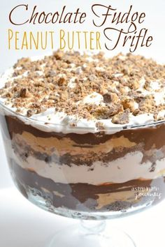 Recipe for this Chocolate Brownie Peanut Butter Trifle.