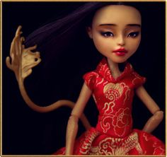 • Jinafire Long • OOAK doll Monster High repaint outfit • Chinese Golden Dragon