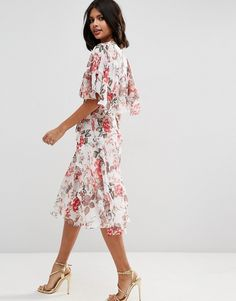 Image 2 of ASOS Ruffle Cape Soft Midi Dress In Vintage Floral