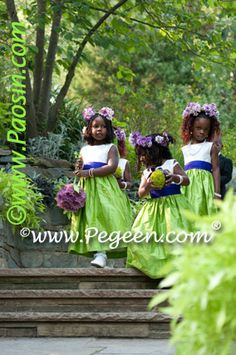 Purple and Green Flower Girl Dresses - http://www.pegeen.com/wedding-of-the-year/flower-girl-dress-of-year-hm.php#