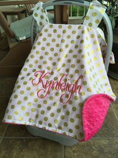 Personalized baby carseat canopy monogram car seat cover custom car seat canopy girl baby shower gift monogrammed gold pink aqua by CustomThreadsShop on ... & Personalized baby carseat canopy monogram car seat cover custom ...