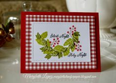 Christmas card using Concord & 9th Magnolia Wreath and Holy Night Stamps set, Gingham Christmas Card Marybeth Lopez