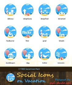 Imagery Investigation: A set of cute beachy icons.