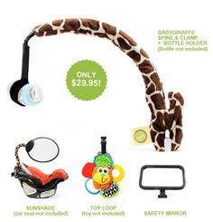BabyGiraffe bendable arm that holds toy, bottle, safety mirror and sun shade holder for stroller or carseat. (Toy, Bottle, and Car Seat not included.): Baby