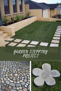 Easy DIY Garden Stepping Stones #gardenstonepath Yellow Perennials, Mosaic Stepping Stones, Home Decor Sets, Garden Steps, Stone Path, Edible Plants, Colorful Garden, Outdoor Areas, Growing Vegetables