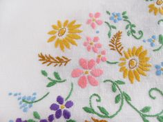 Hand embroidered tablecloth, table cloth, floral ring, linen, square by BlindDogVintage on Etsy