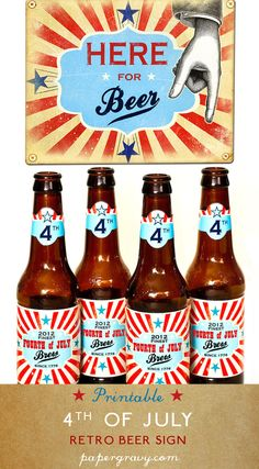 """DIGITAL PRINTABLE Retro 4th of July  Beer Sign wall print DIY Party decorations for the home. Happy fourth of July"""