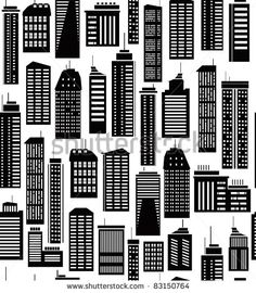 Seamless pattern of  city's buildings.