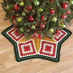 Herrschners Star Bright Christmas Tree Skirt Crochet Yarn Kit