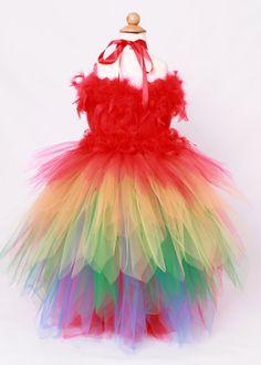 Tutu Dress Paradise Parrot Red & Rainbow by Cutiepatootiedesignz Mehr