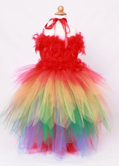 Tutu Dress Paradise Parrot Red & Rainbow by Cutiepatootiedesignz