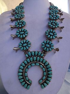 Huge Signed Vintage NAVAJO Sterling Silver & Turquoise Petit Point Cluster SQUASH Blossom Necklace, Benny Touchine