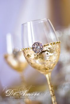Gold Gatsby Style wedding Wine Glasses Wedding от DiAmoreDS