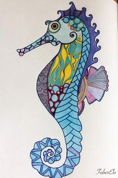 De retour après de longs jours de...travail ! Un hypocampe issu du Bestiaire Extraordinaire, aux couleurs mi-atypiques J'ai choisi d'utiliser des feutres Pen68 pour les contours et quelques intérieurs ; et du crayon de couleur pour remplir la plupart...