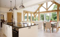 How Your Oak Extension Can Make You Money! Thinking to renovate your home, checkout these house design ideas on Architectures Ideas for financing of the extension. Even oak extension are showcased. Open Plan Kitchen Living Room, Barn Kitchen, Diy Kitchen Decor, Kitchen Upstairs, Cottage Extension, House Extension Design, House Design, Kitchen Orangery, Conservatory Kitchen