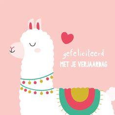 Verjaardagskaart kind - Gefeliciteerd - Verjaardagskaarten Birthday Wishes, Happy Birthday, Alpaca, Kind, Om, Flowers, Cards, Quotes, Products