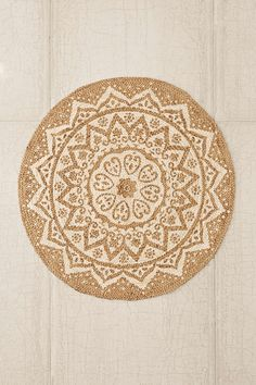 Plum & Bow Kolam Braided Jute Round Rug | Urban Outfitters | Neutral Rug with fun pattern! #UOContest #UOonCampus