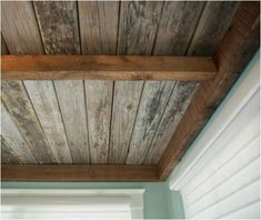 Basement ceiling ideas include paint, paneling, drop ceilings, and even fabric. HouseLogic has ideas, tips and costs for finishing your basement ceiling. Wood, Basement Ceiling, Wood Ceilings, Ceiling Treatments, Reclaimed Wood Ceiling, Diy Ceiling, Wood Diy, Reclaimed Wood, Rustic Ceiling