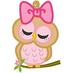 Girly Owl Applique - 5 Sizes! | Birds and Birdhouses | Machine Embroidery Designs | SWAKembroidery.com Band to Bow
