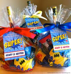 Superhero party favor bags, this will be my son's theme this year Superhero Party Bags, Superhero Party Favors, Batman Party, Superhero Birthday Party, 3rd Birthday Parties, 4th Birthday, Birthday Ideas, Hulk Party, Avenger Party