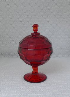 Ruby Red Glass Candy Dish Covered Pedestal by RaindropVintageShop