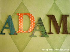 Mod Podge Letters with paper and burlap-- from Cheap Crafty Mama