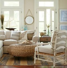 Rustic Beige Beach Cottage Living Room | Birch Lane Catalog Bliss | Beach Bliss Designs