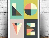 Love print, Geometric print, Word print, Love art, Type print, Letters print, Colorful wall art, Nursery print, Modern design, Typography