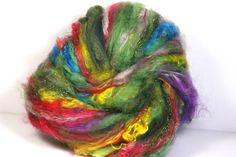 Art Batt Spinning Felting Fiber Christmas Lights by Jazzturtle
