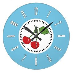 Blue Retro Cherry Large Clock