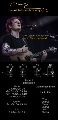 Perfect Ed Sheeran chords beginner guitar lesson, easiest restructured chords to play Perfect by Ed Sheeran instantly! Norwich Guitar AcademyPerfect - Ed Sheeran Chords Beginner Guitar Lesson Easy! Acoustic Guitar Chords, Music Chords, Lyrics And Chords, Electric Guitar Chords, Electric Guitar Lessons, Fender Acoustic, Music Guitar, Guitar Songs For Beginners, Basic Guitar Lessons