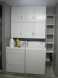 THIS is what I want!! With a small bench in front of shelves for putting on shoes. Bring down 2 laundry baskets max at a time; iron and fold upstairs.