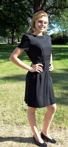 Vintage Ladies Black Cocktail Dress Beaded Trim by Dani Max Size 8 Only 8 USD by SusOriginals on Etsy