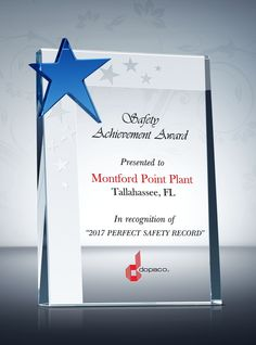 Safety Star Award Plaque Employee Recognition Awards