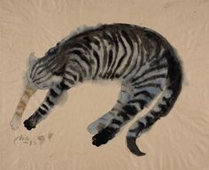"Viola Gråsten (Swedish, 1910-1994) - ""Cat 11"", 1989 - Pencil and watercolour on paper"