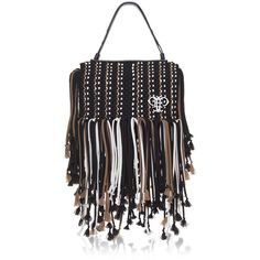 Emilio Pucci Black fringed bag ($2,430) ❤ liked on Polyvore featuring bags, handbags, fringe handbags, fringe purse, top handle bag, top handle purse and emilio pucci