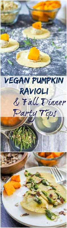 Vegan and gluten-free pumpkin ricotta ravioli + tips on how to de-clutter your kitchen and prepare for a fall themed dinner party with the The Calphalon PremierTM Space Saving Nonstick Cookware #CalphalonAmbassador #ad
