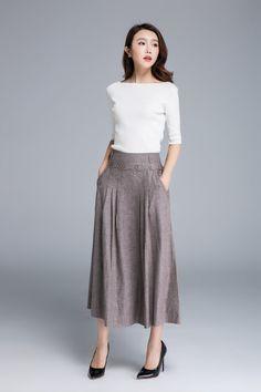 button skirt flared skirt linen skirt light brown skirt